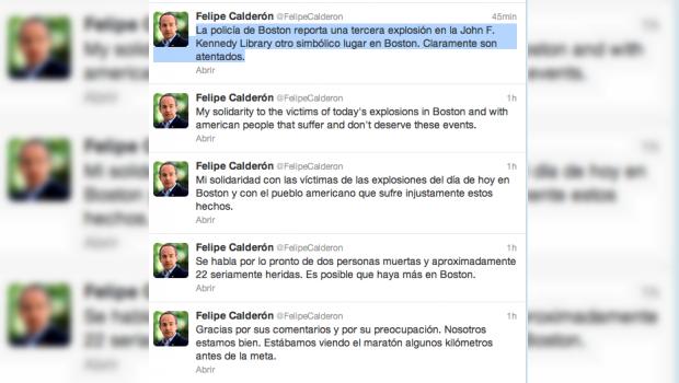 Felipe Calderón asegura que explosiones en Boston son atentados terroristas