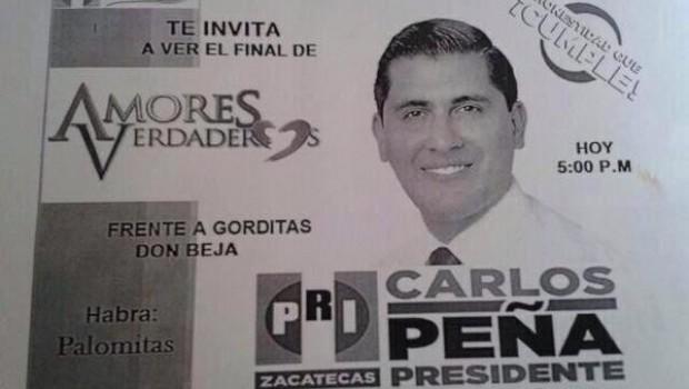 Carlos Peña, candidato a alcalde de Zacatecas, invita a ver final de Amores Verdaderos