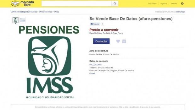 Venden en Mercado Libre base de datos de Afore-Pensiones del IMSS