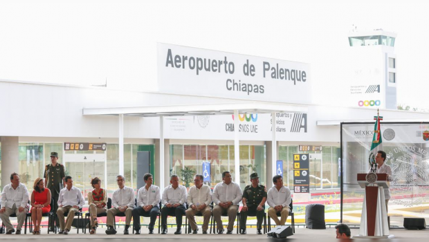 Encabeza Peña Nieto inauguración de Aeropuerto Internacional en Palenque, Chiapas
