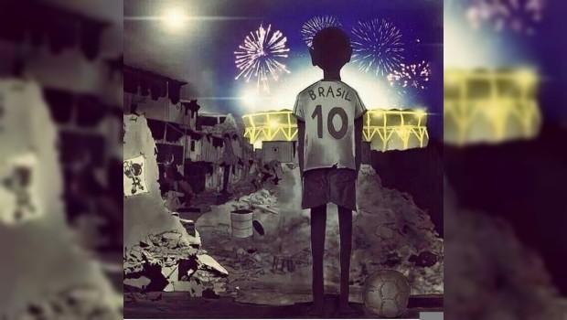 Joven brasileño expresa la realidad del Mundial con un impactante dibujo
