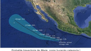 La madrugada de este sábado Marie se volvió huracán. Foto/SMN