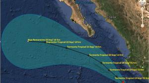 (@conagua_clima) Trayectoria de la tormenta tropical Polo