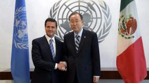 (Presidencia) Peña Nieto acompañado del secretario general de la ONU, Ban Ki-moon