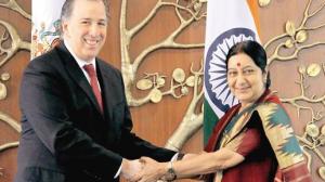 José Antonio Meade Kuribreña, y su homóloga india, Sushma Swaraj. Foto: Especial