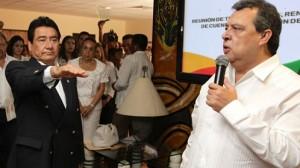 El exgobernador de Guerrero, Ángel Aguirre en compañía del secretario de Gobierno, Jesús Martínez Garnelo