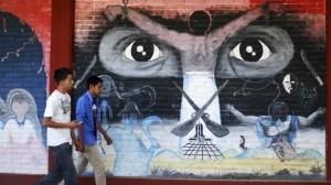 Mural de la Normal de Ayotzinapa. Foto: Cuartoscuro