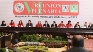 Ana Lilia Herrera Anzaldo, Miguel Osorio Chong, Emilio Gamboa Patron, Aurelio Nuño y Humberto Castillejos, durante la VI reunión plenaria de los senadores del PRI realizado en el municipio de Ocoyoacac. Foto: Saúl López/Cuartoscuro